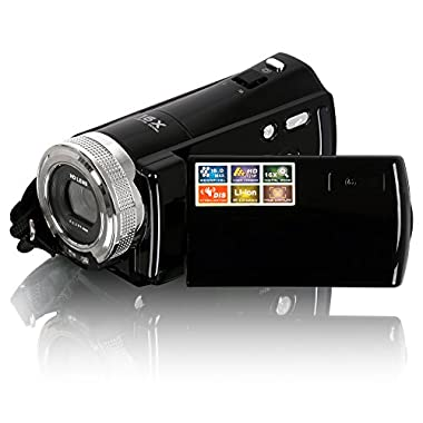 Camera Camcorders, Besteker Portable Digital Video Camcorder HD Max. 16.0 Megapixels 1280*720P DV 2.7 Inches TFT LCD Screen 16X Zoom Camera Recorder (108-Black)