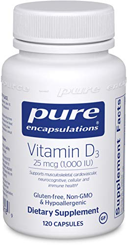 Pure Encapsulations - Vitamin D3 25 mcg (1,000 IU) - Hypoallergenic Support for Bone, Breast, Prostate, Cardiovascular, Colon and Immune Health* - 120 Capsules