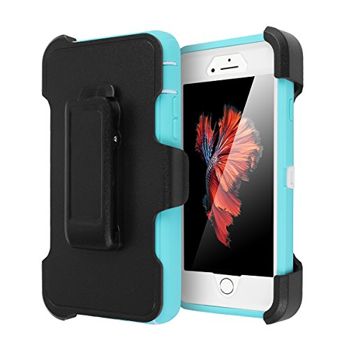 iPhone 6 Plus/6s Plus Case, AICase Built-in Screen Protector Tough 4 in1 Rugged Shorkproof Dustproo Rainproof Cover for iPhone 6 Plus/6S Plus (White/Light Blue with Belt Clip)