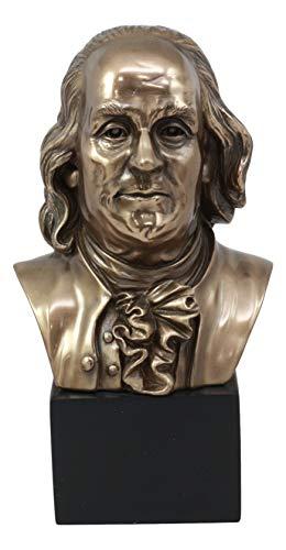 "Ebros American Founding Father Benjamin Franklin Bust Statue 8.75"" Tall In Bronze Patina Finish Resin Figurine As United States Patriotic Historical Memorabilia Home Decor Realistic Lifelike Sculpture"