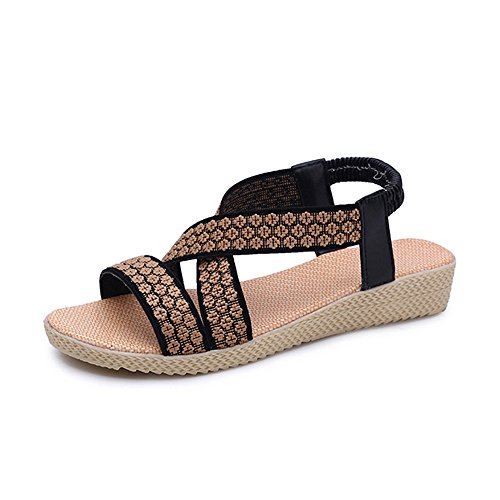 Sunmoot Clearance Sale Women Ankle Strap Cute Roman Summer Flat Sandal,Elastic Band Huarache Wedge Espadrilles Casual Shoes Braided ()