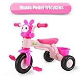 qiaoniuniu Kids' pedal Tricycles music rider trikes bike with a big rear basket for children age 2-8 Years Kids great gifts for boys girls birthday Maximum Weight 75 kg -pink