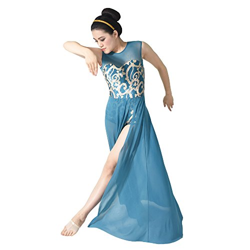 [MiDee Floral Sequin Tank Leotard Maxi Skirt Lyrical Dress Dance Costume (MA, Turquoise)] (Dance Costumes Kids Jazz)