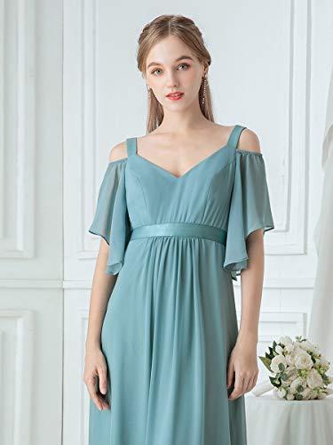 Ever-Pretty Vestito da Damigella Donna Linea ad A Chiffon Maniche Corte Scollo a V Lungo 07871