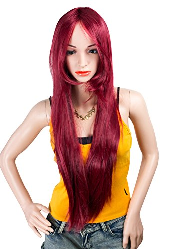 32 Inches Long Straight Wine Red Hair Wigs with Bangs Cosplay Synthetic Wigs for Women