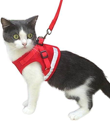 Chaleco Suave y Transpirable para Mascotas peque/ñas AWOOF Arn/és para Gato y Correa a Prueba de Escape Chaqueta Ajustable para Caminar con Gatito Cat Kitten con Anillo de Correa de Metal