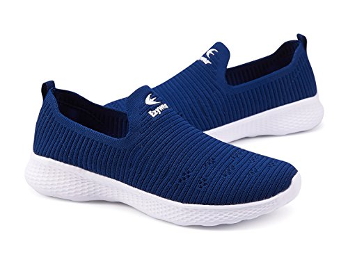 Ezywear Women's Slip on Shoes Fashion Casual Loafers Classic Breathable Sneakers (7.5, Navy)