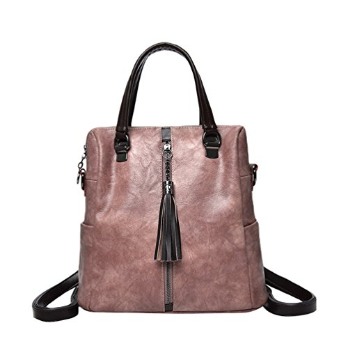 Xinwcang Backpack For Women - Pu Leather Shoulder Bag - Fashion Casual Hand Bag Backpacks Bag Trip Type Pink