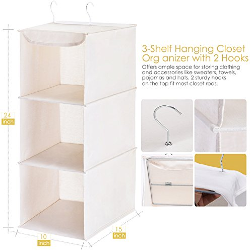 MaidMAX Hanging Shelf Closet Organizer for Home Bedroom Wardrobe Clothes Shoe Towel Sweater Accessory Unit Storage with 2 Hooks, Collapsible, 3 Shelves, Beige