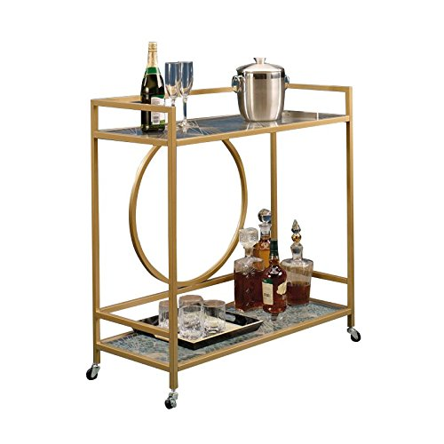 Sauder International Lux Bar Cart in Satin (Glass Bar Cart)
