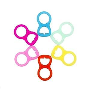 RUBY - Pack de 6 Adaptadores para Chupete Silicona Colores. ENVÍOS DESDE ESPAÑA (Pack 6 unids.)
