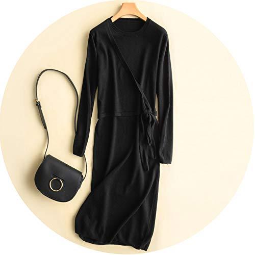 Dress Women Long Sleeve Pullover Sweater Dresses Elegant Loose Knitted Dresses,Black,XXL