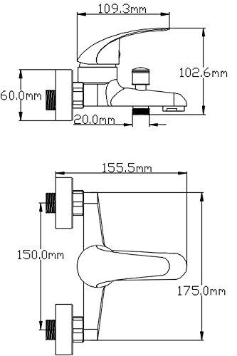 DP Bath Naranjo Robinet Mitigeur de baignoire// bain chrom/é.