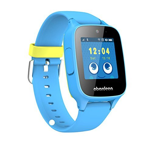 Abardeen 2G GPS GSM Tracker Smart Watch Bracelet with Camera for Kids Anti Lost SOS Waterproof Support Android IOS (Blue)