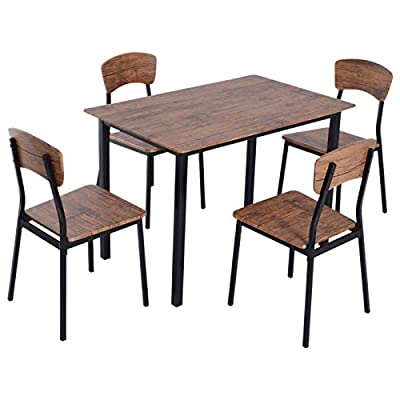HOMCOM 5 Piece Modern Counter Height Dining Table and Chairs Set - ✅CONTEMPORARY CLASSIC DESIGN: Our modern industrial table and chair set combines simplicity and practicality to fit in no matter what style your dining room or kitchen is. ✅5 PIECE DINING SET: This dining set consists of a dining table and four matching chairs so the whole family can gather around and is ideal for apartments or small spaces because of its compact size. ✅VERSATILE USE: The counter height chairs can be used as bar stools or as additional seating for high countertops with high backrests that provide support. - kitchen-dining-room-furniture, kitchen-dining-room, dining-sets - 41SE%2BFVXlSL. SS400  -
