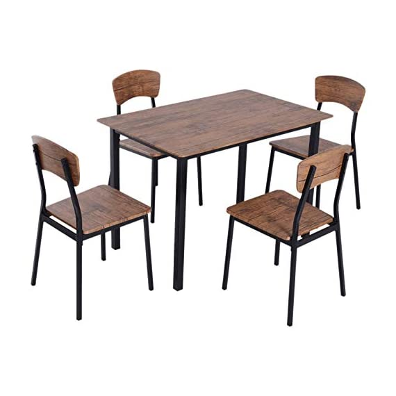 HOMCOM 5 Piece Modern Counter Height Dining Table and Chairs Set - ✅CONTEMPORARY CLASSIC DESIGN: Our modern industrial table and chair set combines simplicity and practicality to fit in no matter what style your dining room or kitchen is. ✅5 PIECE STACKABLE DINING SET: This dining set consists of a dining table and four matching chairs so the whole family can gather around and is ideal for apartments or small spaces because of its compact size. Stackable design occupy little space when not to use. ✅VERSATILE USE: The dining chairs can be used as bar stools or as additional seating for high countertops with high backrests that provide support. - kitchen-dining-room-furniture, kitchen-dining-room, dining-sets - 41SE%2BFVXlSL. SS570  -