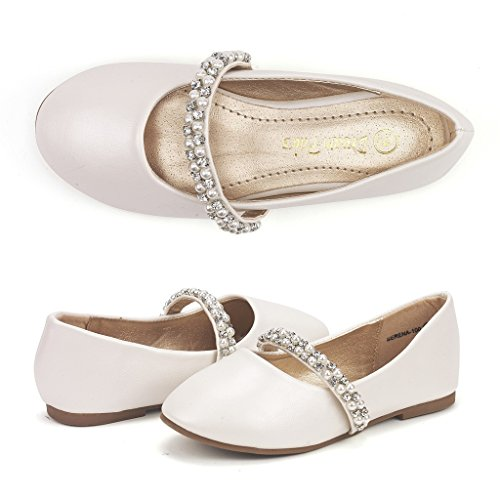 DREAM PAIRS Little Kid Serena-100-Ivory Girl's Mary Jane Ballerina Flat Shoes - 12 M US Little (Girls Ivory Pearl)