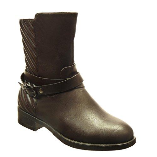 Angkorly - damen Schuhe Stiefeletten - Hohe - Schleife - Linien Blockabsatz 2.5 CM - Braun