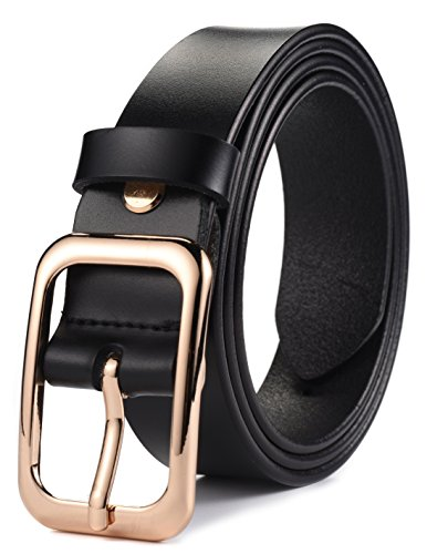 Buckle Black Belt Genuine (Ayli Women's Jean Belt, Gold Color Classic Buckle Genuine Leather Belt, Free Gift Box, Black, Fits Waist 32