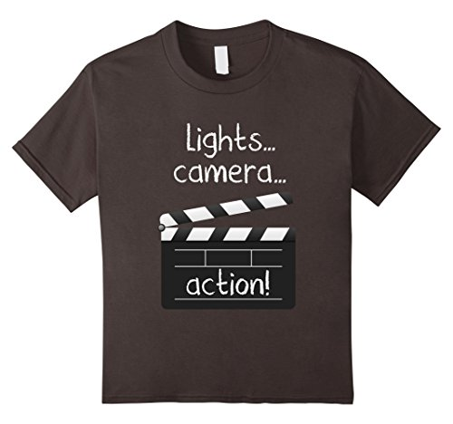 Price comparison product image Kids Lights Camera Action Tshirt Movie Director Clapper Board Tee 12 Asphalt