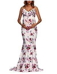 Happy Cherry Maternity V-Neck Fitted Gown Sleeveless Elegant Floral Print Dress
