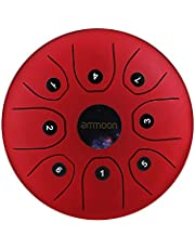 ammoon Steel Tongue Drum 5.5 Inches 8 Notes C-Key Handpan Drum Steel Pocket Drum Percussion Instrument with Mallets Carry Bag for Meditation Yoga Zazen Musical Education-Red