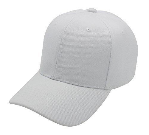 Top Level Baseball Cap Hat Men Women - Classic Adjustable Plain Blank, WHT (Shape Decal Polyester)