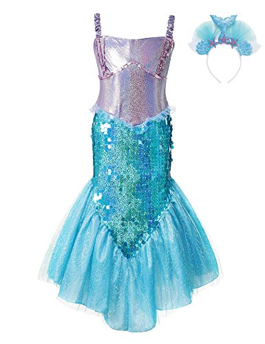 Little Mermaid Costume Dress Princess Ariel Sequin Girls Cosplay Party Outfit (Dress+Blue Headband, 6-7 Years) -