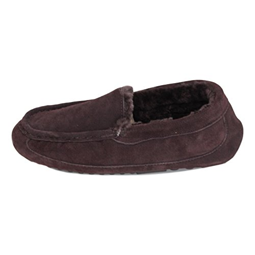 Deluxe Men's 'Henry' Sheepskin Moccasin Slippers with Hard Sole Chocolate OoXchL2