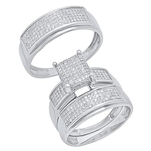 - Dazzlingrock Collection 0.65 Carat (ctw) Round Diamond Men's & Women's Micro Pave Engagement Ring Trio Set, Sterling Silver