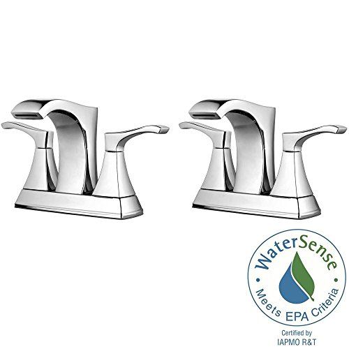 Pfister Venturi 4 in. Centerset 2-Handle Bathroom Faucet in Polished Chrome (2-Pack Combo)
