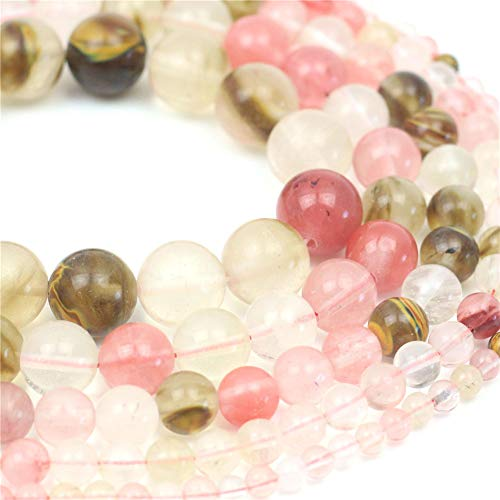 Oameusa Natural Round Smooth 4mm Watermelon Crystal Agate Beads Gemstone Loose Beads Agate Beads for Jewelry Making 15
