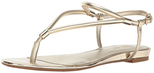 Nine West Women's Rivers Synthetic Dress Sandal, Gold, 7.5 M US