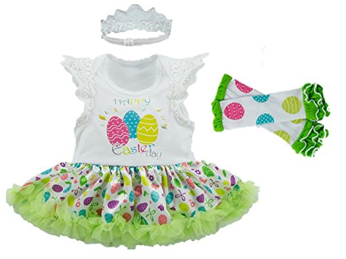 AISHIONY Baby Girls 3PCS 1st Easter Day Tutu Outfit Newborn Princess Dress M (Outfits With Dresses)