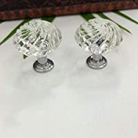 Set of 10 Crystal Glass Knobs, Handles Pulls for...