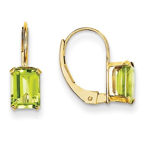 MadiK - 14k Yellow Gold Rectangle Shape Peridot Prong Set Lever Back Earrings by Venture Madi K Collection