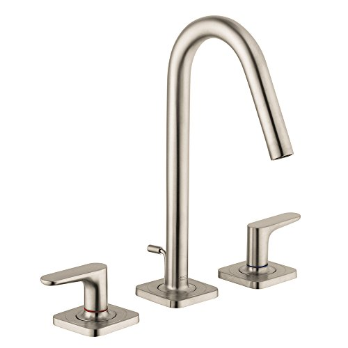 AXOR AXOR Citterio M  Modern 2-Handle  11-inch Tall Bathroom Sink Faucet in Brushed Nickel, 34133821