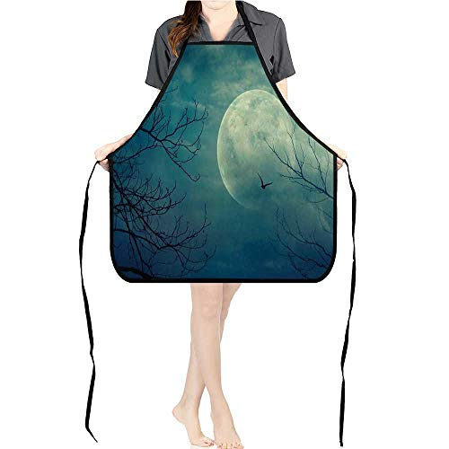 Jiahong Pan BBQ Apron Halloween Full Mo in and Dead Tree Branch Evil Haunted Blue for Delicious Barbecue Grill -