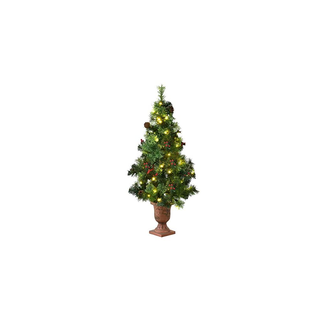 Goplus-Christmas-Tree-Pre-Lit-Tabletop-Artificial-Entrance-Tree-with-Led-Lights-Gold-Urn-Base-Pine-Cones-and-Red-Berries