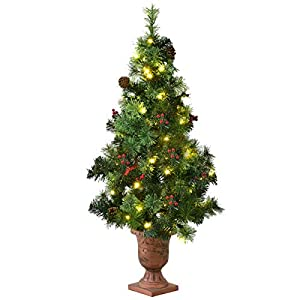 Goplus Christmas Tree Pre-Lit Tabletop Artificial Entrance Tree with Led Lights, Gold Urn Base, Pine Cones and Red Berries 120