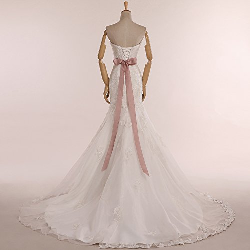 Ever Beauty Sweetheart Open Back Lace Mermaid Wedding Dress with Belt
