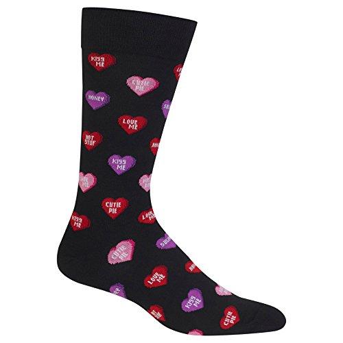 Hot Sox Men's Holiday Slack Crew Socks, Candy Hearts (Black), Shoe Size:6-12 / Sock Size: 10-13