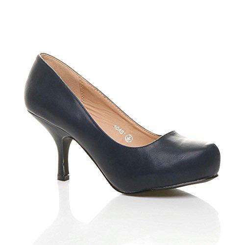 soignée bas Mat moyen chaussures travail taille Bleu élégant escarpins Marine talon Femmes à 0qA66E