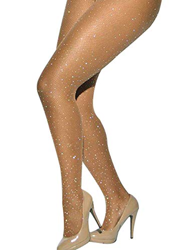 Betteraim Women's Hollow Out Rhinestone Fishnet Pantyhose Tights