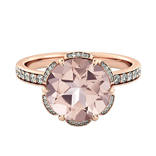 Natural peach/pink 2.50 CT VS Morganite Ring with Diamonds Rose Gold 14K Flower Vintage Unique