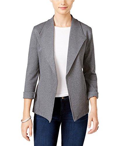 hawl Collar Open Front Blazer Gray L (Co Shawl Collar)