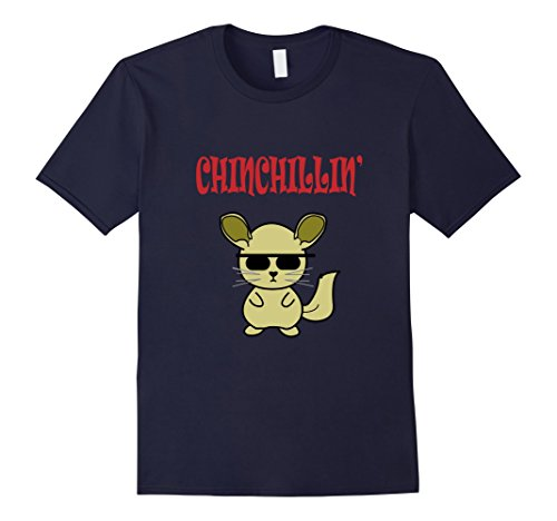 Men's FUNNY CHINCHILLIN T-SHIRT Cute Chinchilla Zoo Animal Farm Small Navy (Cute Brother And Sister Costumes Halloween)