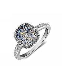 Lady 18k White Gold Gp AAA Zircon Swarovski Crystal Bridal Engagement Wedding Ring R24a