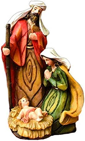 6 1//4 Inches Painted Resin Holy Family Statue