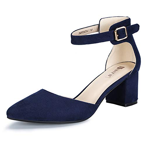 IDIFU Women's IN2 Pedazo-C Mid Chunky Heels Ankle Strap D'Orsay Pumps (Blue Suede, 8.5 B(M) US)